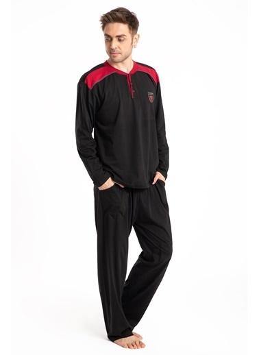 Pemilo Erkek 645 Cepli Uzun Kol Yazlık Pijama Takımı SİYAH Siyah